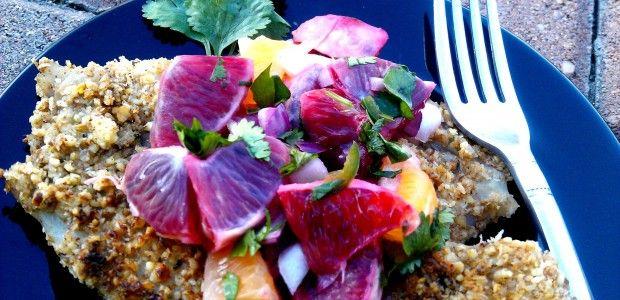 Blood Orange Salsa over Pecan Encrusted Tilapia
