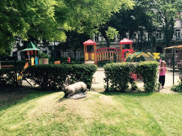 The new statue of lately passed away Karcsi, the former rabbit of the Karolyi Garden, the cute little park of the locals in downtown Pest.
