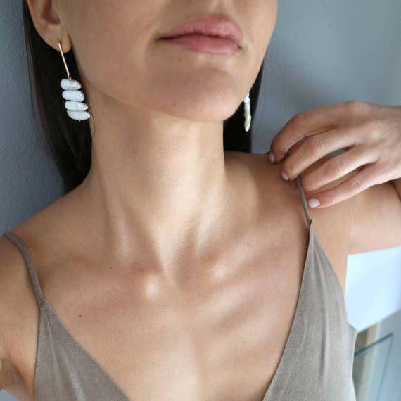 Pearl Gold Earrings, Yellow Gold 9-karat Studs, Natural Pearl Earrings, Statement Delicate Gold Earrings, Bridal, Wedding Fine Jewelry Gift