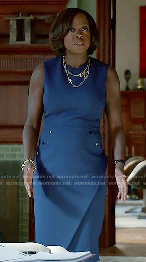 Annalise's blue dress with buttons on How to Get Away with Murder.  Outfit Details: http://wornontv.net/51861/ #HTGAWM