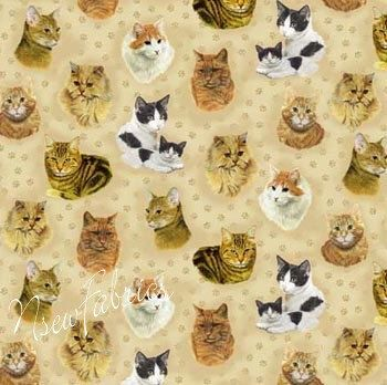 Cute Fabric CAT Paw Print & Kittens by NsewFabrics on Etsy, $9.99