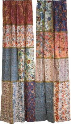 patchwork curtains for the living room with a burlap/lace swag wrapped around top curtain rod.