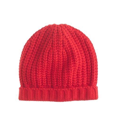 NWT J.Crew Chunky Ribbed Hat One Size Dark Poppy B5314 $36.50 #JCrew #Beanie