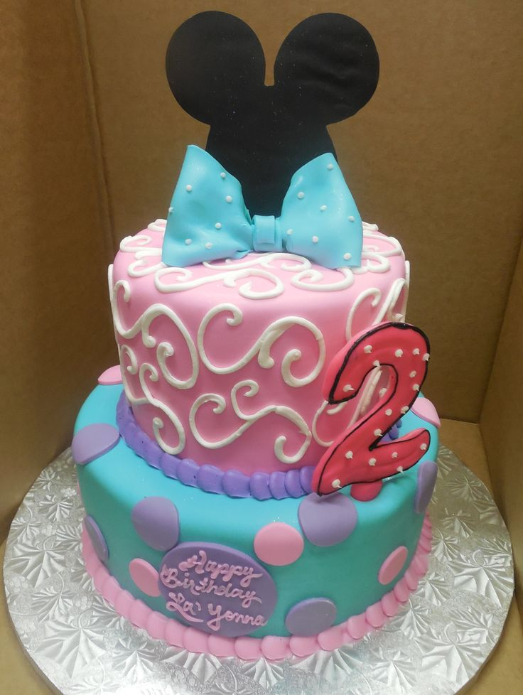 Calumet Bakery Minnie Mouse Fondant Two Tier In Blue Pink