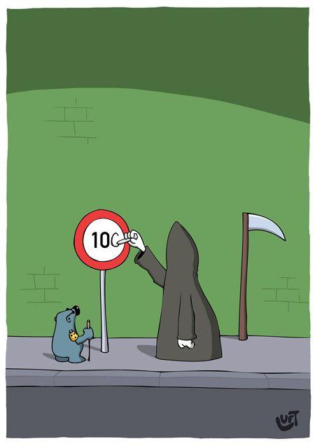 Thomas Luft, Cartoon, Lustig, Tod, 100