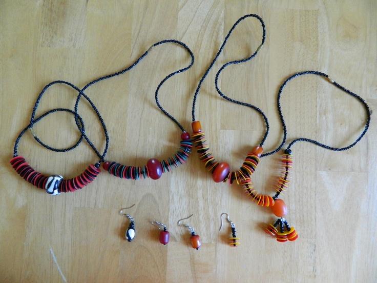 Amber or bone and massai beads (choker necklace+earings) $17
