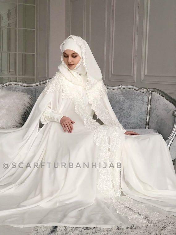 Wedding Milk Color Suit Bridal Hijab Wedding Islamic Suit Niqab