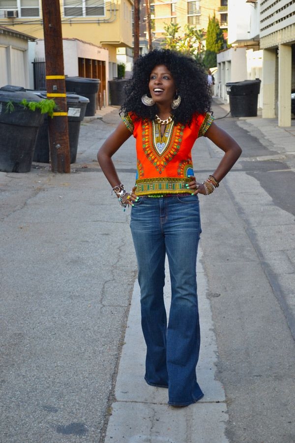 70s Dashiki + 70s High Waist Bell Bottom Jeans | Style Pantry
