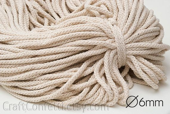 Ecru cotton cord rope braided perfect for knitting basket rugs macrame weaving 2-3mm