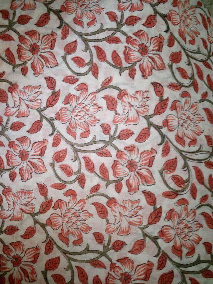 2.5 Yard Sanganeri Natural Fabric Decor Cotton Material Hand Block Handmade #Handblock