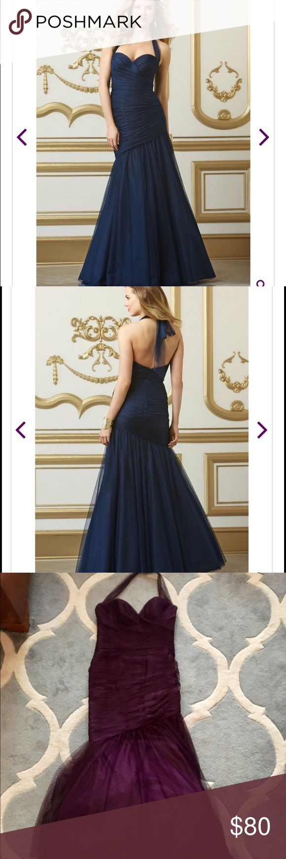 Wtoo 501 Mermaid Bridesmaid Dress in Eggplant The Watters WTOO 501 bridesmaid dress will please even the pickiest bridesmaid. From the plunging sweetheart neckline to the meticulously shirred bodice, this gown has all the expensive details of far costlier dress. The halter style neck ties in the back into a generous bow. Diagonal dropped waist has a mermaid flare at the bottom. Fit and flare silhouette flatters most any frame while the cleverly ruched bodice hides a multitude of sins. Made…