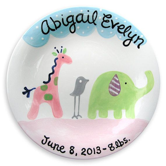 34 best new baby pottery ideas images on pinterest painted safari friends personalized plate girl lwc 120g unique baby giftsbaby negle Images
