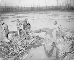 WWi, 13 Nov 1916; Soldiers washing in the Ancre Marsh at St.Pierre-Divion, captured that day. ©IWM