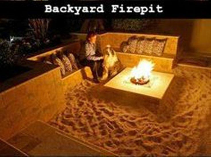 backyard bonfire pit w/ sand