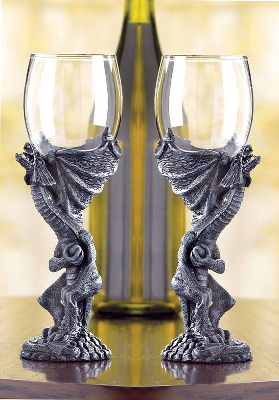 Set of 2 Medieval Dragon goblet wine glass