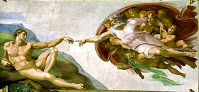 La creación de Adán, la más famosa de las imágenes de la bóveda. Miguel Angel Buonarrotti
