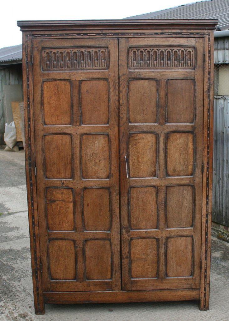 Good Large Solid Oak Wardrobe Circa 1910