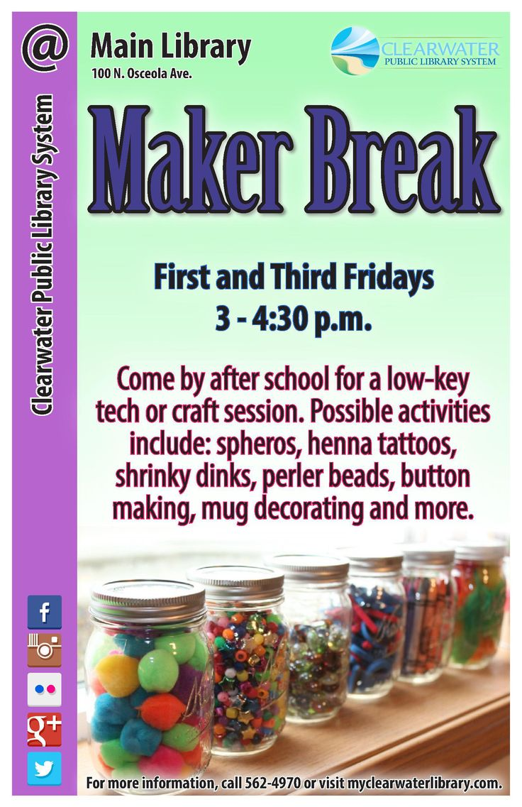 Come by after school for a low-key tech or craft session.  Possible activities include: spheros, henna tattoos, shrinky dinks, perler beads, button making, mug decorating and more.
