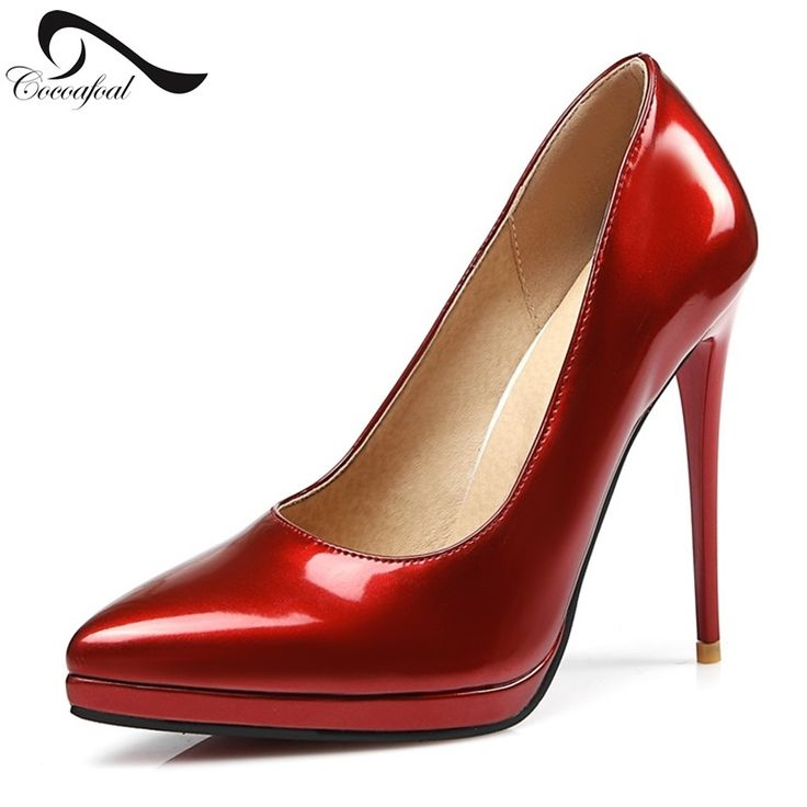 (37.28$)  Watch more here - http://aiakp.worlditems.win/all/product.php?id=32793896094 - New Shallow Mouth Patent leather Pumps Women Red High Heels Shoes Banquet Wedding Shoes Black Outdoor Beach Shoes Plus Size 10.5