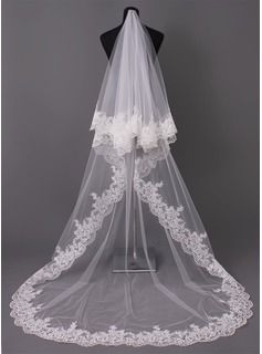 Cathedral Bridal Veils Tulle One-tier Oval Drop Veil Lace Applique Edge Applique 118.11 in (300cm) White Ivory Ivory Ivory Spring Summer Fall Winter A-line/Princess Ball Gown Empire Sheath Mermaid Color & Style representation may vary by monitor 0.2 kg 0.