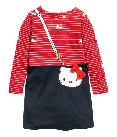 Tricot jurk met lange mouwen   Donkerblauw/Hello Kitty   Kinderen   H&M NL
