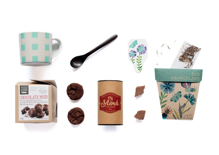 Chocolate XOXO  Mörk Cacao Artisans of Melbourne - Sow n Sow  -  Whisk & Pin Chocolate Mud Bite Size Cookies - Robert Gordon Life Mug - Sands Made handmade wooden spoon.