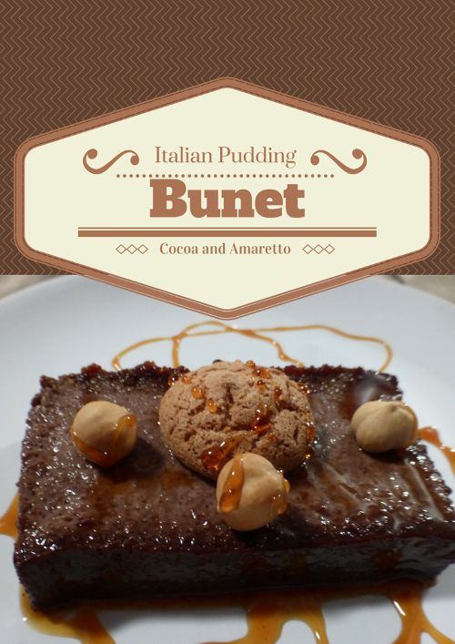 Bunet - Cocoa and Amaretti Pudding. A classic Italian dessert made with amaretti cookies and topped with a carmel drizzle and fresh hazel nuts. As good as it looks. @venturists