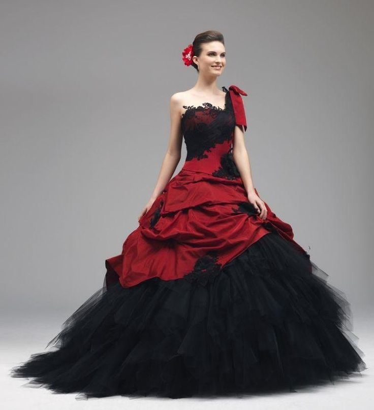 Red And Black Wedding Dress Lace