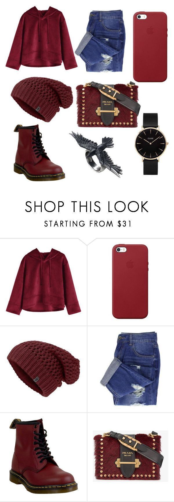 """#burgundy"" by emilia13258 ❤ liked on Polyvore featuring Apple, Dr. Martens, Prada and CLUSE"
