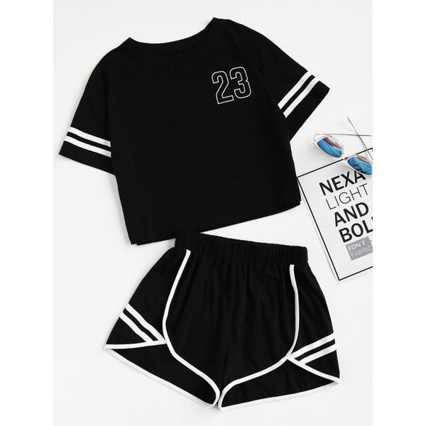 Crop Varsity T-shirt And Contrast Binding Notch Shorts Set (75 BRL) ❤ liked on Polyvore featuring tops, black, cut-out crop tops and crop top