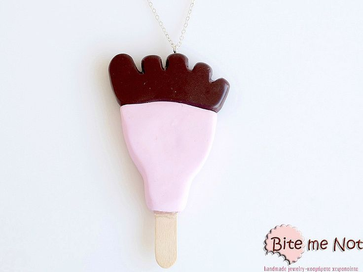 -Silver plated long chain necklace!-The famous ice-cream