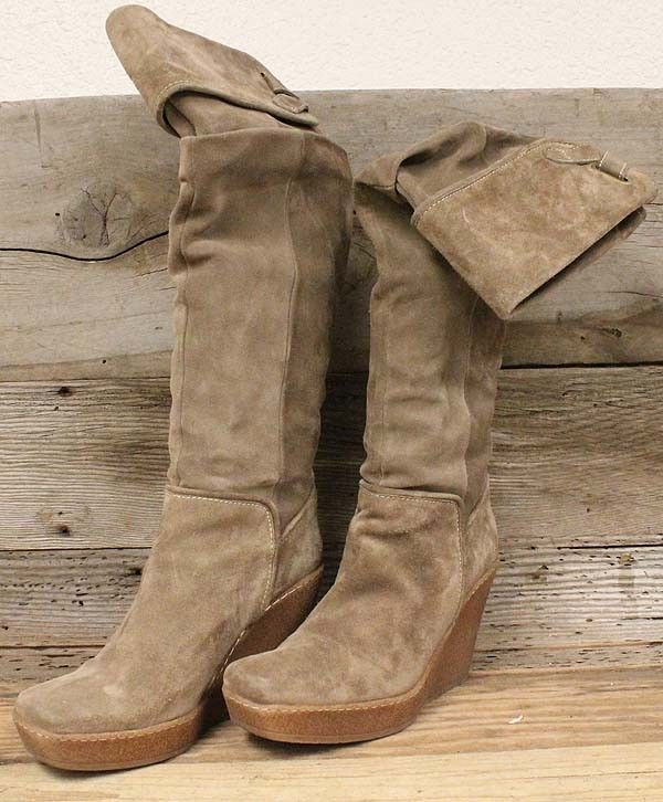 6239185bec9 PONS QUINTANA WOMEN BROWN LEATHER SUEDE OVER THE KNEE WEDGE FASHION BOOTS  SZ 9.5  fashion  clothing  shoes  accessories  womensshoes  boots  ad (ebay  link)