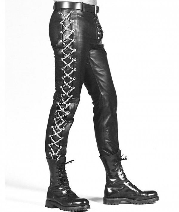 Mens Wear Tight Leather Pants With Chains - Chain Leather Pants #leatherbaba #leatherpant #tightpant