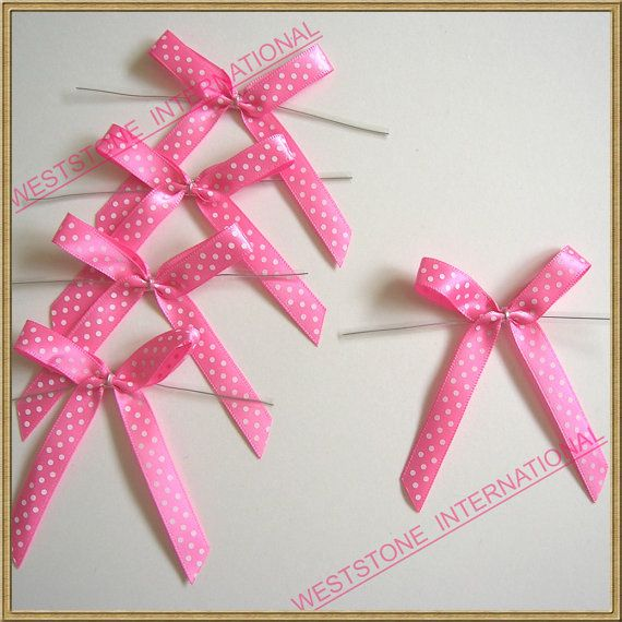 25 Polka Dot Pink Satin Pre-Tied Ribbon Bow for cello bag in wedding and Party