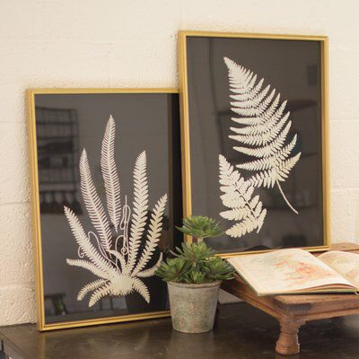 Framed Inverted Fern Silhouette Prints