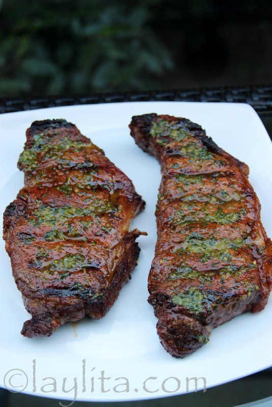 Achiote (annatto) and beer marinated grilled steaks topped with with jalapeño cilantro salsa