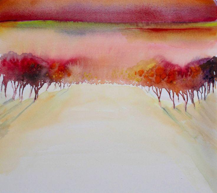 The Orange Grove, watercolour, painted by Anita van Grootveld