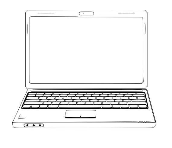 Laptop Clip Art Sketches Computer Clip Art Computer Vector Etsy In 2021 Computer Sketch Computer Vector Laptop Drawing
