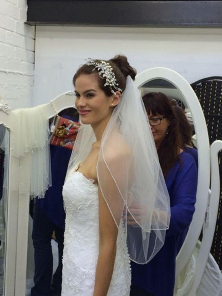 Bridal gown modelled by Miss England.