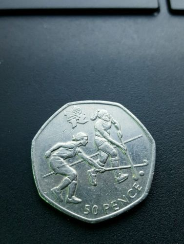 #Hockey - uk #london 2012 olympics 50p 50 #pence coin - minted 2011,  View more on the LINK: http://www.zeppy.io/product/gb/2/201818285979/