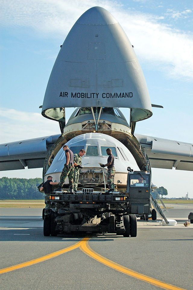 Airman from the 436th Aerial Port Squadron and 9th Airlift Squadronload a C-5 Galaxy flight deck on a C-5 for transport to Robins AFB - Lockheed C-5 Galaxy - Wikipedia, the free encyclopedia