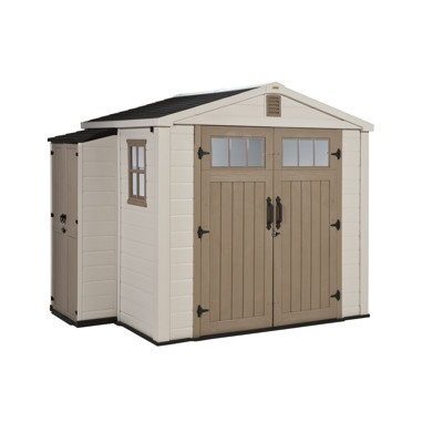 Keter infinity 8 39 x 6 39 storage shed with side cabinet for Side storage shed