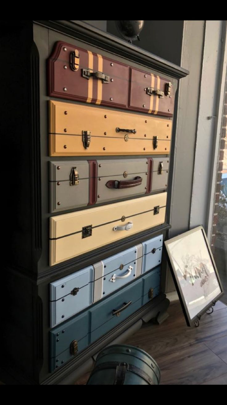 Dresser with trunk drawers// Perfect for Harry Potter nursery