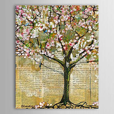 Blumenmuster/Botanisch Ölgemälde Handgemalte Leinwand Wall Art Andere Künstler Ein Panel Fertig zum Aufhängen – EUR € 99.99