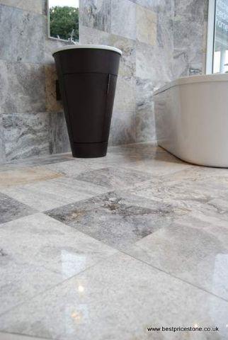 Pewter Travertine Polished and Filled Floor Tile