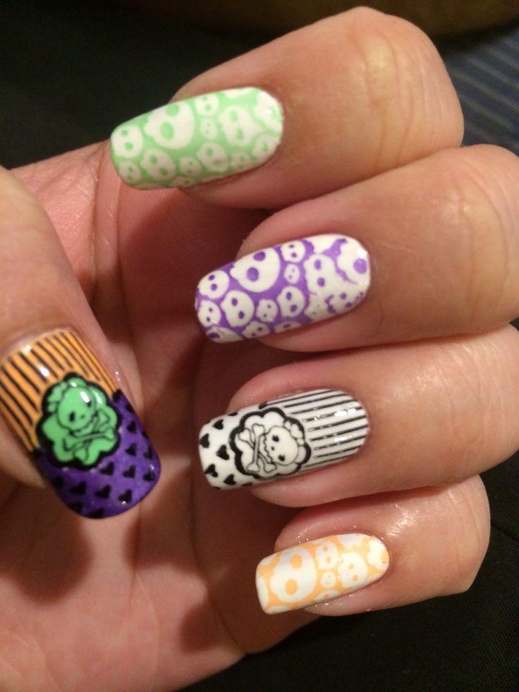 Pastel Halloween nail stamping design