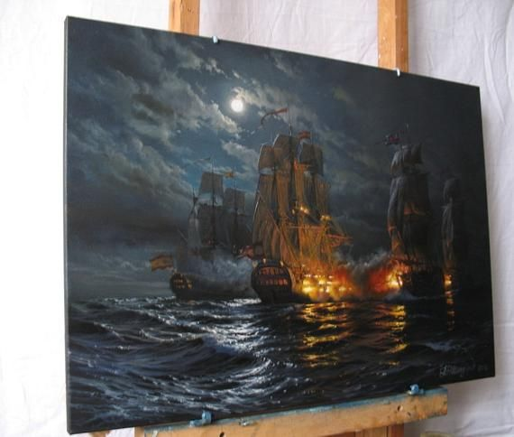 Night Ship Painting By Alexander Shenderov Ocean Painting Etsy Ocean Painting Ship Paintings Painting