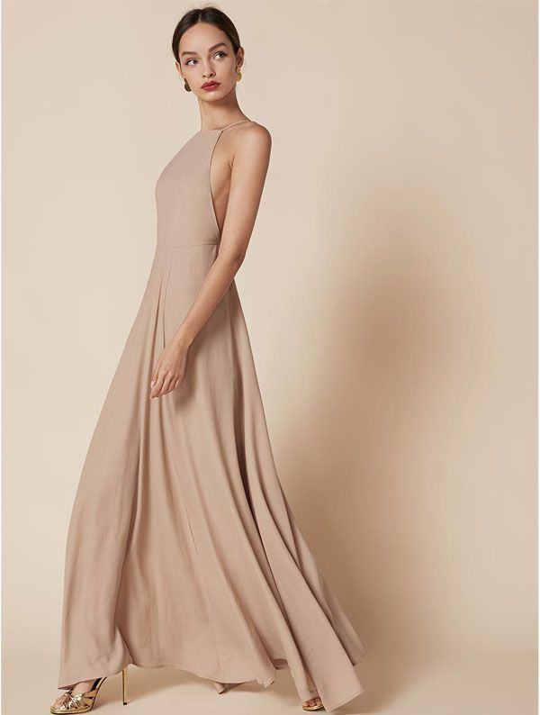 This Collection Will Make You Consider Buying A Second Wedding Dress #refinery29  http://www.refinery29.com/reformation-bridal#slide-4  High neckline, low back. Reformation Frossen Dress, $248, available Reformation. ...