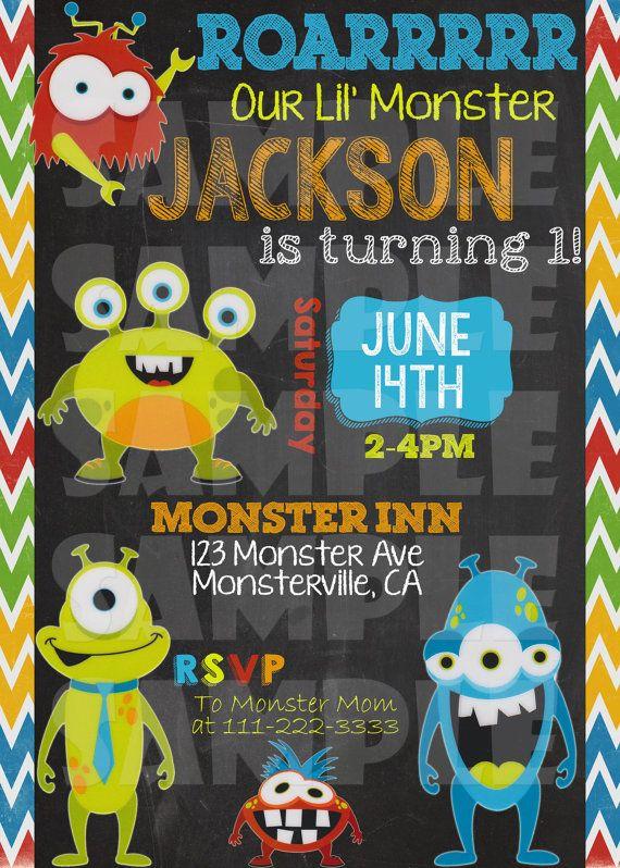 Monster Invitation Monster Birthday Invite Monster Party Little