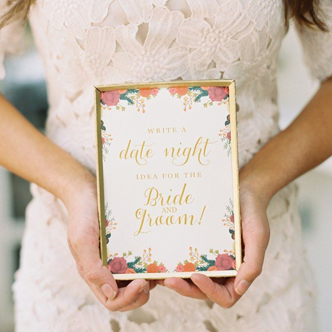 Such a cute #bridalshower idea! What is your #datenight idea for the #bride and #groom? Tell us in the comments below! | Photography: @marielhannah | Event Design: @mintdesignca | Paper Goods: Matinae Design Studio